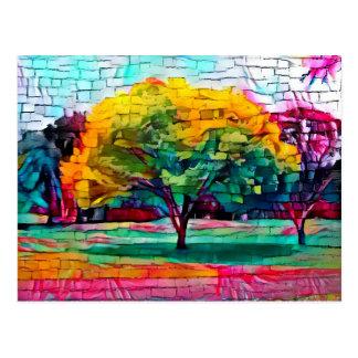 Autumn tree in vivid colors postcard