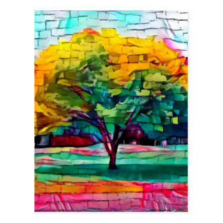 Autumn tree in vivid colors postcard