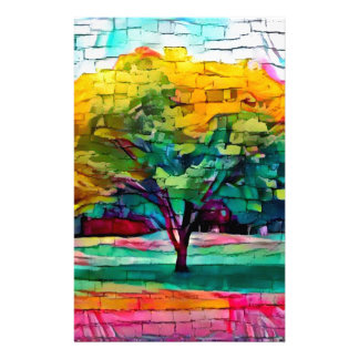 Autumn tree in vivid colors stationery paper