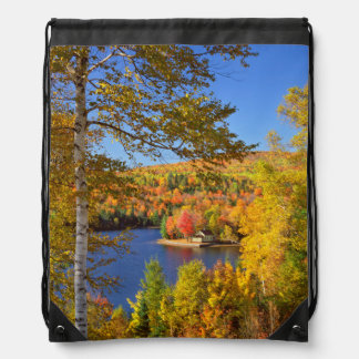 Autumn tree landscape, Maine Drawstring Bag