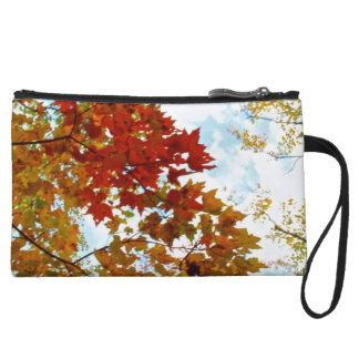 Autumn Tree Leaves Sky View Photo Wristlet Purse