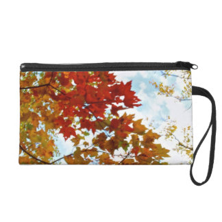 Autumn Tree Leaves Sky View Photo Wristlet