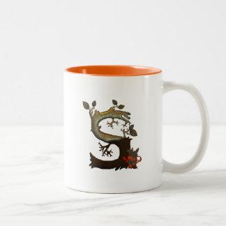 Autumn Tree Monogram S Two-Tone Coffee Mug