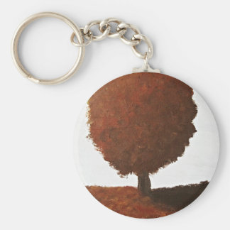 Autumn Tree Painting Basic Round Button Key Ring
