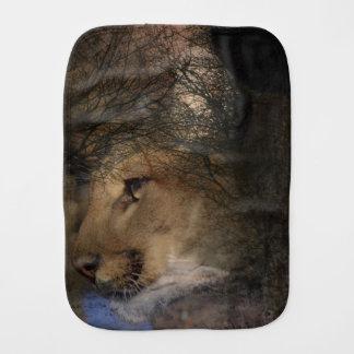 Autumn tree silhouette mountain lion wild cougar burp cloth