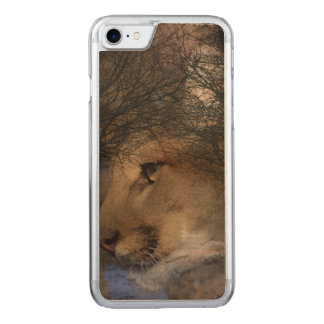 Autumn tree silhouette mountain lion wild cougar carved iPhone 8/7 case