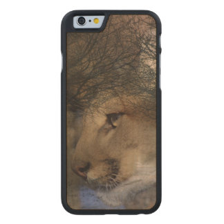 Autumn tree silhouette mountain lion wild cougar carved maple iPhone 6 case