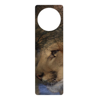 Autumn tree silhouette mountain lion wild cougar door knob hangers
