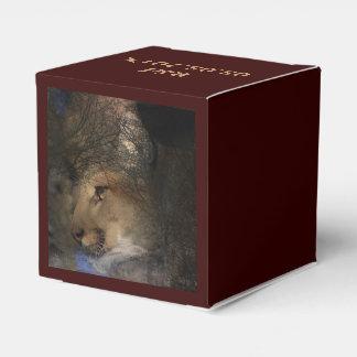 Autumn tree silhouette mountain lion wild cougar favour box