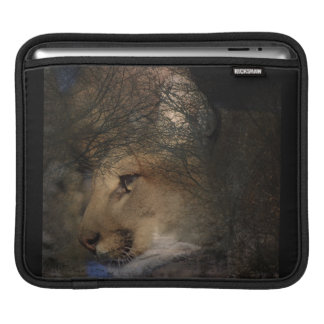 Autumn tree silhouette mountain lion wild cougar iPad sleeve