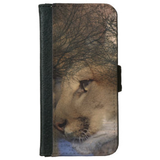 Autumn tree silhouette mountain lion wild cougar iPhone 6 wallet case