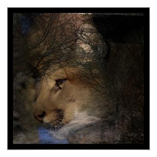 Autumn tree silhouette mountain lion wild cougar poster
