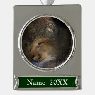 Autumn tree silhouette mountain lion wild cougar silver plated banner ornament