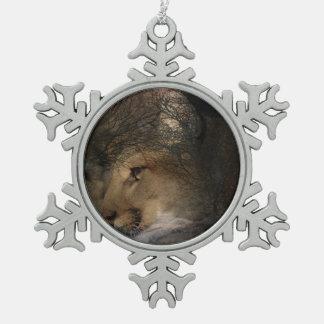 Autumn tree silhouette mountain lion wild cougar snowflake pewter christmas ornament