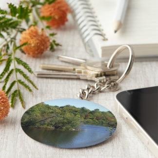 Autumn Tree Water Scene Basic Round Button Key Ring