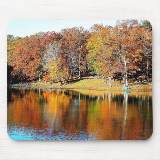 Autumn Trees and Lake Reflections Mouse Pad