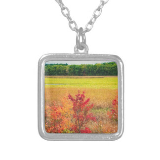 Autumn Trees at Great Meadows Silver Plated Necklace