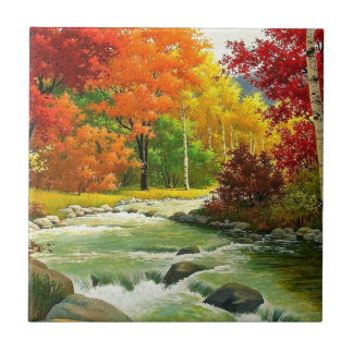 Autumn Trees By The River Ceramic Tile