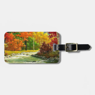 Autumn Trees By The River Luggage Tag