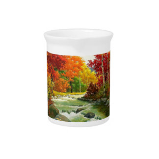 Autumn Trees By The River Pitcher