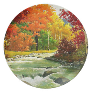 Autumn Trees By The River Plate
