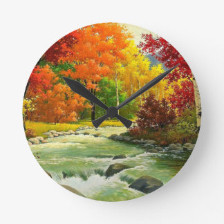Autumn Trees By The River Round Clock