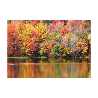 AUTUMN TREES REFLECTION IN THE RIVER WATER CANVAS PRINT