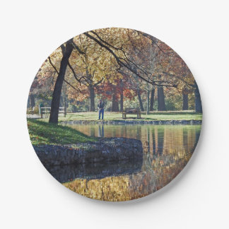 Autumn Trout Fishing Paper Plate