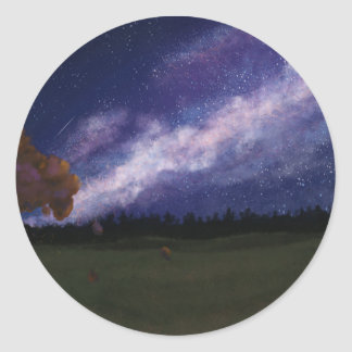Autumn Under the Milky Way Classic Round Sticker