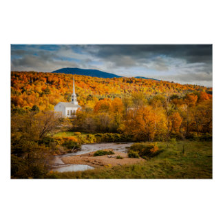 Autumn View Of The Community Church In Stowe Poster