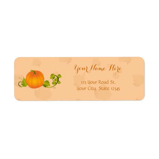 Autumn Vine Pumpkin with Customisable Text Return Address Label