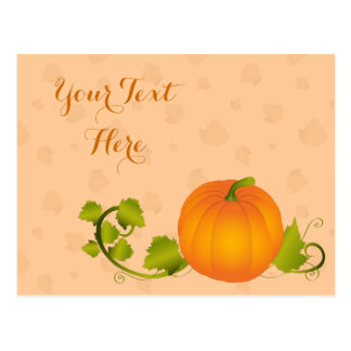 Autumn Vine Pumpkin with Customizable Text Postcard