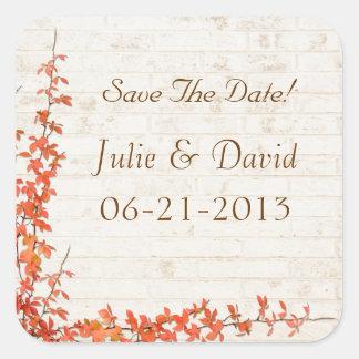 Autumn Vine Wedding Square Sticker