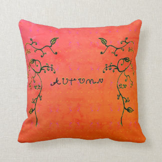 Autumn Vines W/ Text and Red/Orange background Cushion