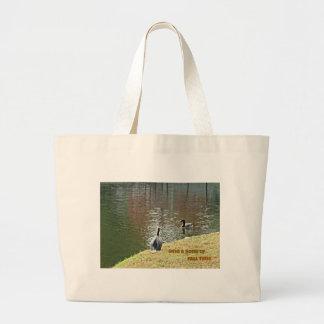 Autumn water scene with ducks jumbo tote bag