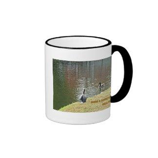 Autumn water scene with ducks mug