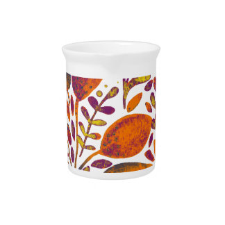 Autumn watercolor leaves pitcher