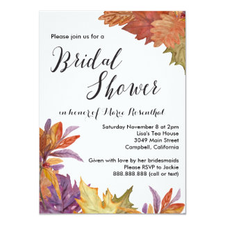Autumn Watercolor Leaves Wedding Bridal Shower Card