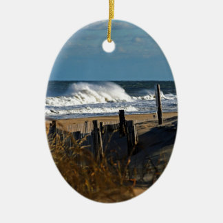 Autumn Waves and Dunes at the Beach Ceramic Ornament