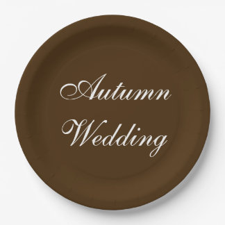 Autumn Wedding Brown Rich Deep Rustic Color 9 Inch Paper Plate