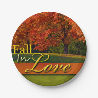 Autumn Wedding Fall In Love Pretty Foliage Photo 7 Inch Paper Plate