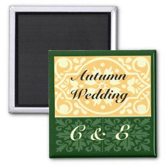 Autumn Wedding Green Tan Monogram Custom Magnet Fridge Magnets