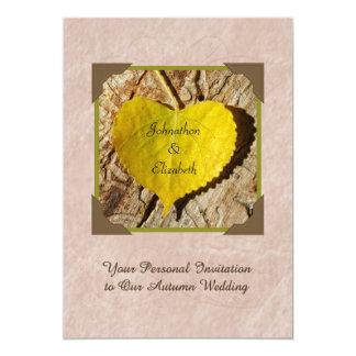 "Autumn Wedding Invitation Yellow Heart Shaped Leaf 5"" X 7"" Invitation Card"