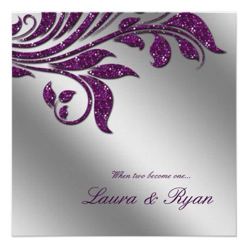 Autumn Wedding Invite Sparkle Leaf Purple Silver