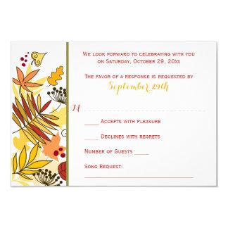 Autumn Wedding RSVP Card   Leaves, Seeds, Berries