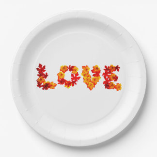 Autumn Wedding Rustic Leaves Spell Love Fall Paper Plate