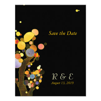 Autumn Whimsical Trees Black Gold Save the Date Custom Invitations