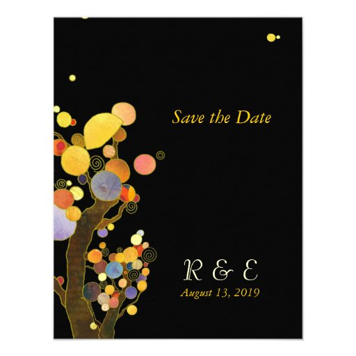 Autumn Whimsical Trees Black & Gold Save the Date Custom Invitations