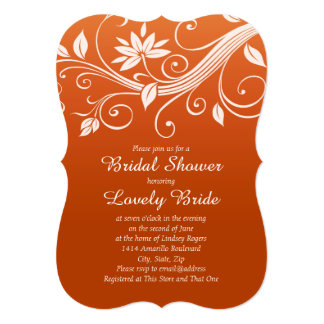 Autumn Whimsy White and Pumpkin Bridal Shower 5x7 Paper Invitation Card