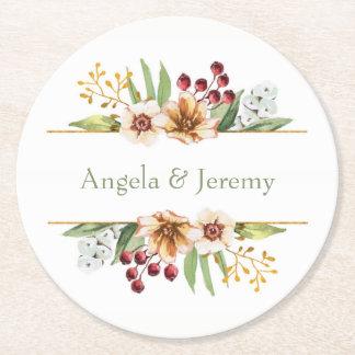 Autumn Wildflower Watercolor Wedding Sage Round Paper Coaster